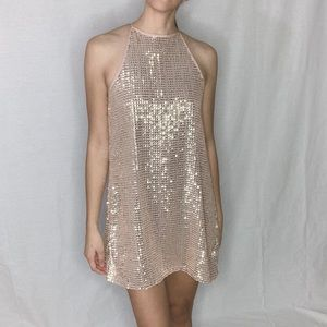 Boutique Sequin Gold Pink Mini Dress Small